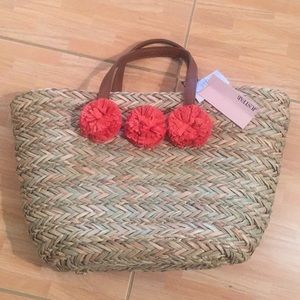 BNWT STRAW BAG WITH LEATHER STRAPS